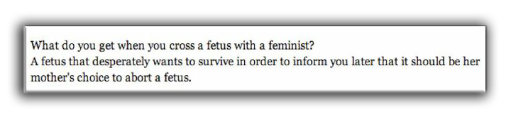 What Do You Get When You Cross A Fetus With A Feminist?