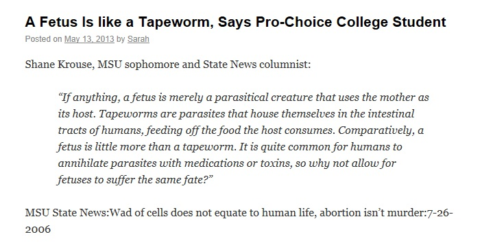 A Fetus Is Like A Tapeworm?